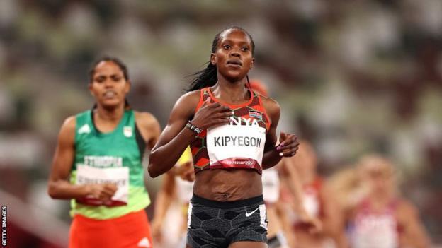 Kenya's Faith Kipyegon in action at the Tokyo Olympics