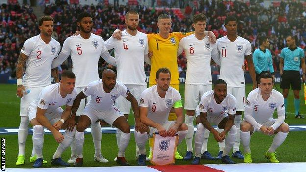 England team that started Sunday's game against Croatia