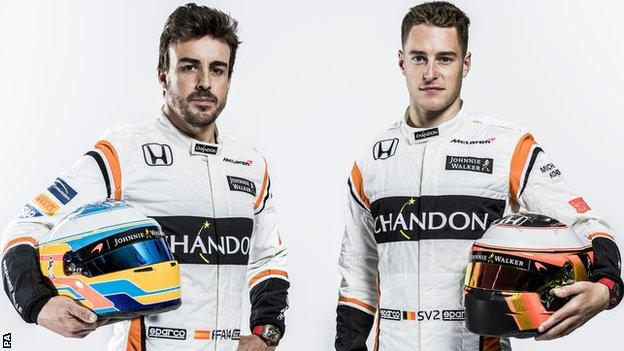 McLaren-Honda's Fernando Alonso and Stoffel Vandoorne.