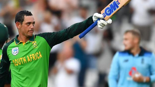 England in South Africa: Quinton de Kock hits hundred as world champions thrashed by seven wickets thumbnail