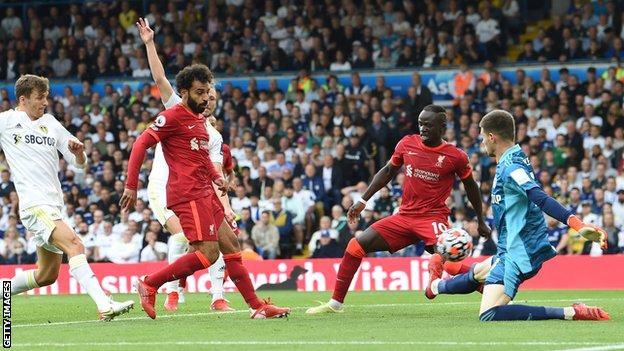 Mohamed Salah scores for Liverpool against Leeds
