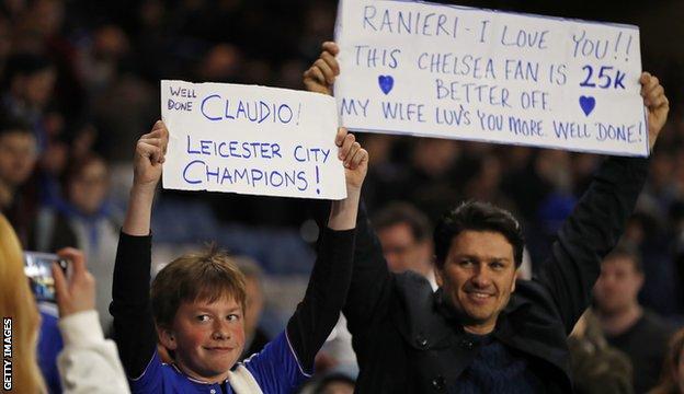 Fans inside Stamford Bridge