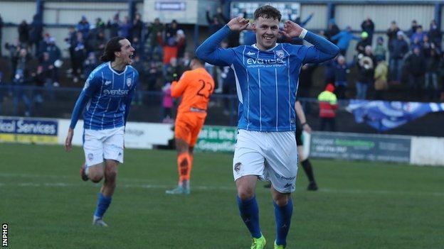 Ben Doherty celebrates scoring a goal