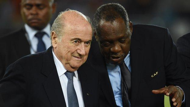 Sepp Blatter and Issa Hayatou