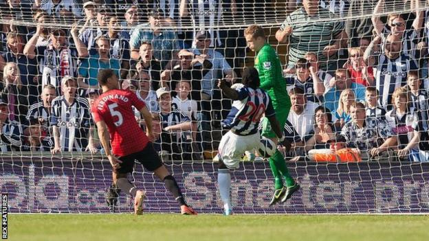 Romelu Lukaku scores for West Brom against Manchester United