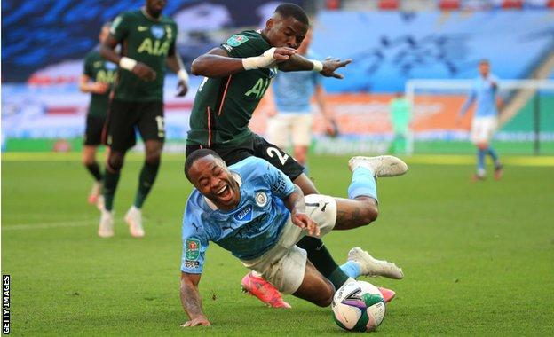 Raheem Sterling is fouled by Serge Aurier