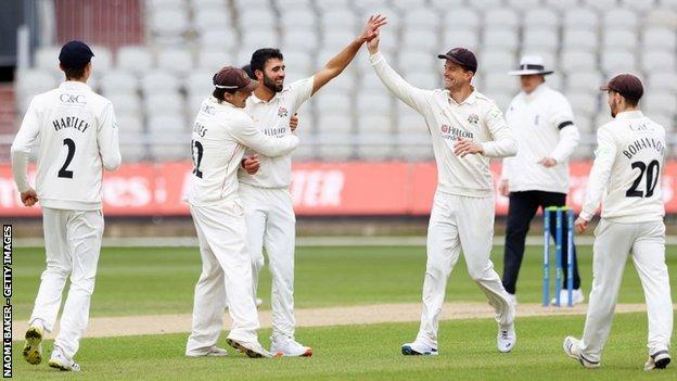England one-day international paceman Saqib Mahmood got the only two wickets to fall on the final day for a total of four in the match