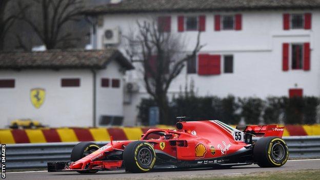 Carlos Sainz of Spain in his first test drive for Ferrari