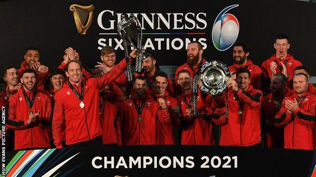 Wales with the Six Nations Championship trophy