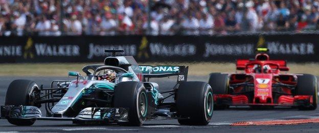 "Mercedes"" Lewis Hamilton (left) and Ferrari""s Kimi Raikkonen during the 2018 British Grand Prix"