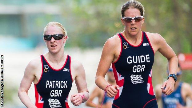 Alison Patrick and guide Hazel Smith