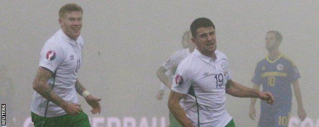 Robbie Brady celebrates scoring for Republic of Ireland against Bosnia and Herzegovina