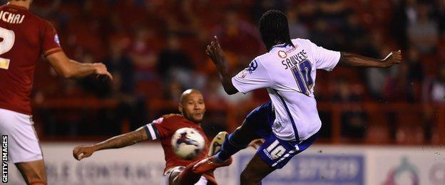 Romaine Sawyers scores for Walsall against Forest