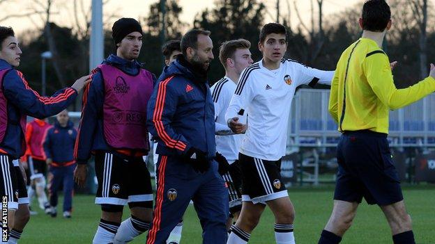 Valencia players and staff protest