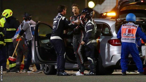 Romain Grosjean after his crash in Bahrain
