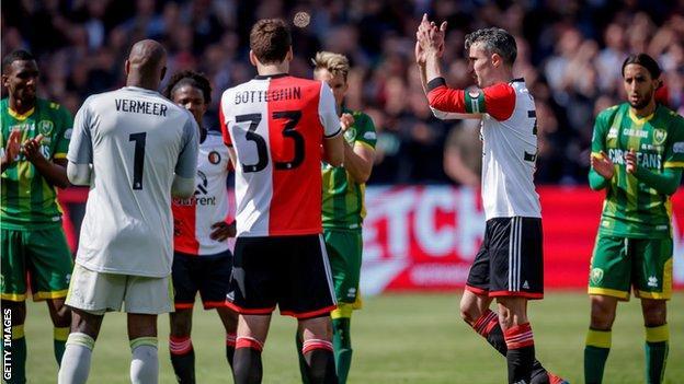 Feyenoord 0 2 Ado Den Haag Robin Van Persie S Final Game Ends In Defeat Bbc Sport