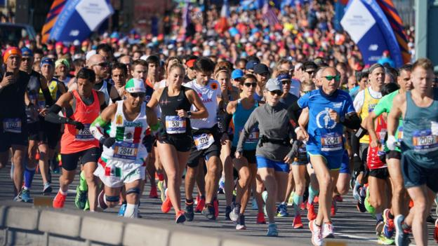 Runners take part in the 47th running of the New York City Marathon