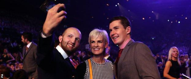 Judy Murray, the mother of Andy, is stopped by some selfie hunters