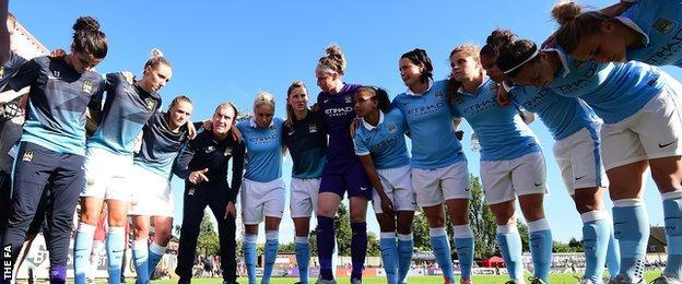 Manchester City Women team talk