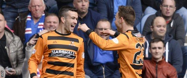 Alloa players celebrating