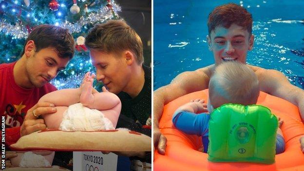 Tom Daley and Dustin Lance Black with baby Robbie
