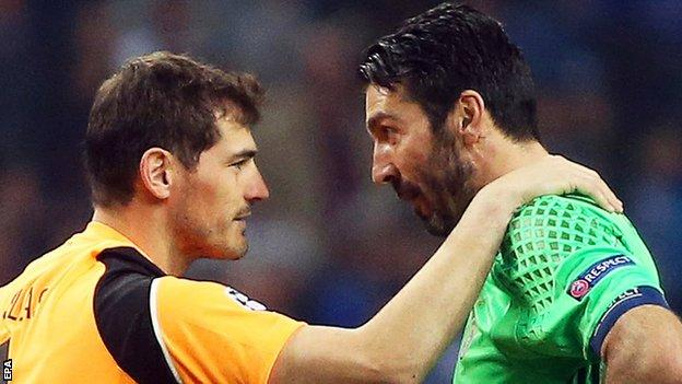 Iker Casillas and Gianluigi Buffon faced one another for the 17th time. Buffon, 39, played in goal when Juve last met Porto in 2001