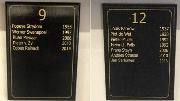 Grey collage South Africa players plaques