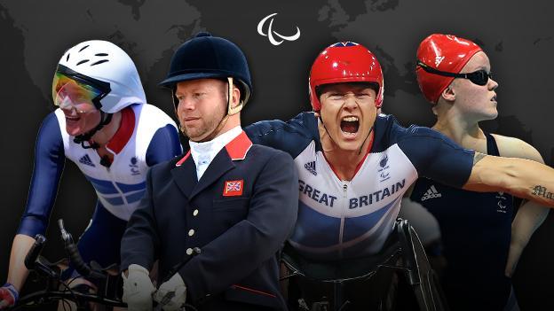 British Paralympians Dame Sarah Storey, Lee Pearson, David Weir and Ellie Simmonds