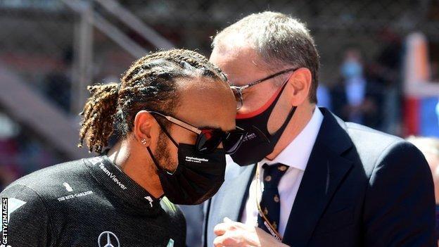 F1 Chairman Stefano Domenicali talks to Lewis Hamilton at the Monaco Grand Prix