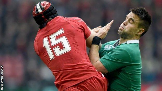 Leigh Halfpenny rises against Ireland in the 2015 Six Nations
