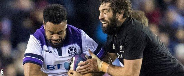 Scotland's Darryl Marfo (left) in action against New Zealand