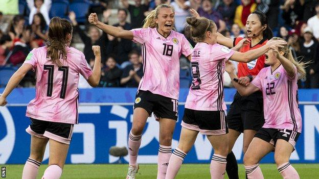 Kim Little (third left) netted for Scotland against Argentina in the 2019 Women's World Cup