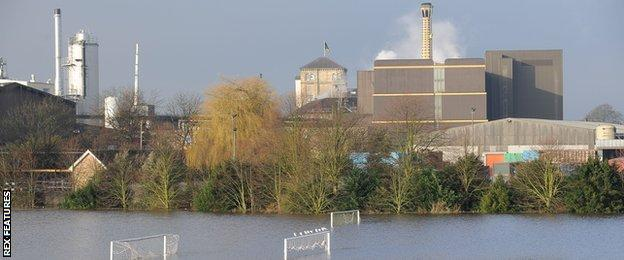 Flooding at Tadcaster Brewery