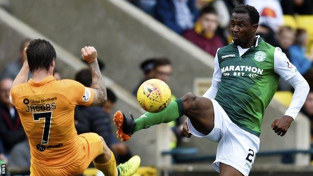 Efe Ambrose left Hibs in February 2019 before moving to Derby
