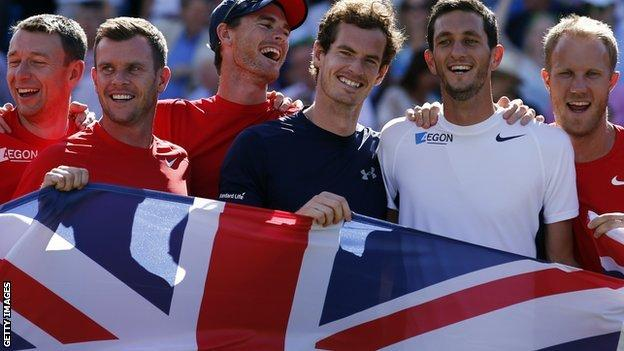Britain celebrate victory over France in the Davis Cup