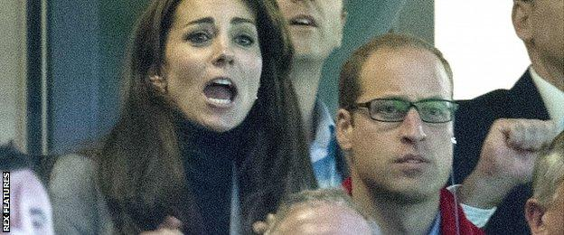 The Duke and Duchess of Cambridge show their anxiety as they cheer on Wales