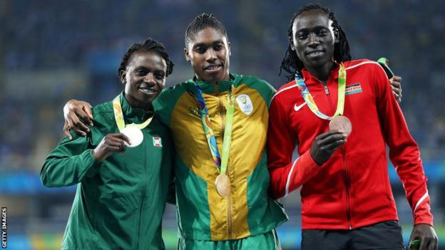 The medallists in the women's 800m at the 2016 Rio Olympics - Francine Niyonsaba (left), Caster Semenya (centre) and Margaret Wambui (right)