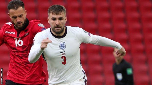 Luke Shaw en action pour l'Angleterre contre l'Albanie