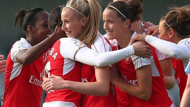 Arsenal congratulate Marta Corredera on her first-half goal against Birmingham