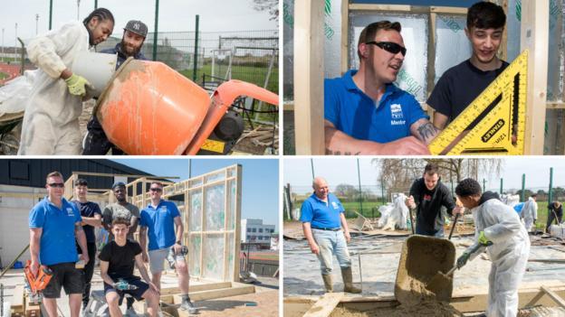 Scenes of the Volunteer It Yourself work at Croydon Football Club