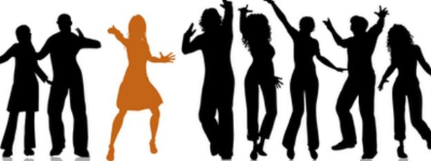 a silhouette of a crowd dancing with one member orange