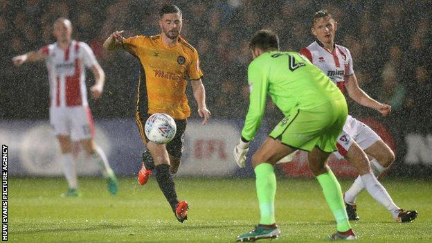 Padraig Amond was a constant threat in attack for Newport County