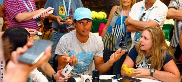 Nadal speaks to the media in Indian Wells