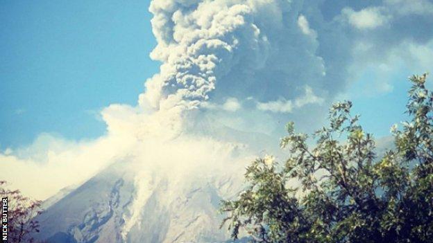 A volcano erupts in Antigua, Guatemala