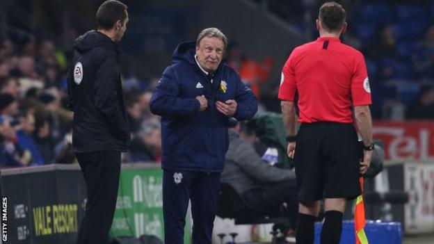 Cardiff manager Neil Warnock complaining to officials