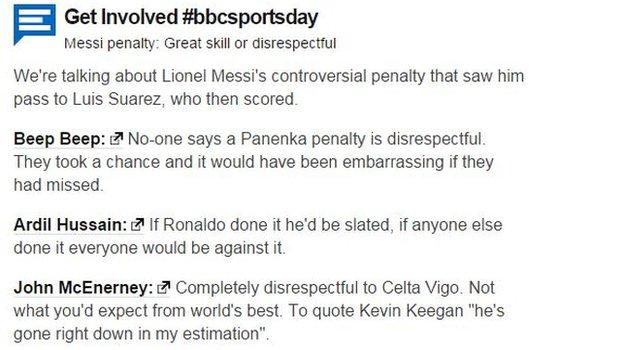 From Ronaldo to Kevin Keegan - the best of BBC Sportsday responses to the debate