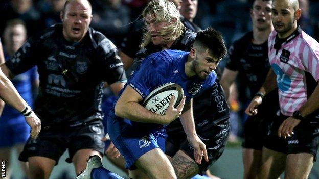 Harry Byrne scores Leinster's third try at the RDS