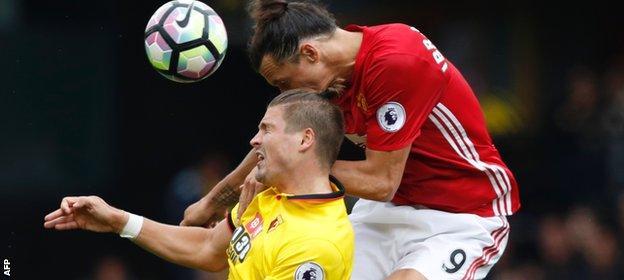 Sebastian Prodl challenges Zlatan Ibrahimovic in the air