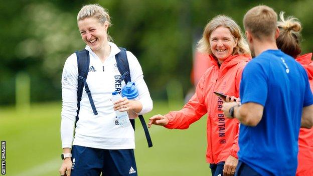 Riise, pictured with striker Ellen White, will lead GB into a group with Chile, Canada and hosts Japan at the Olympics