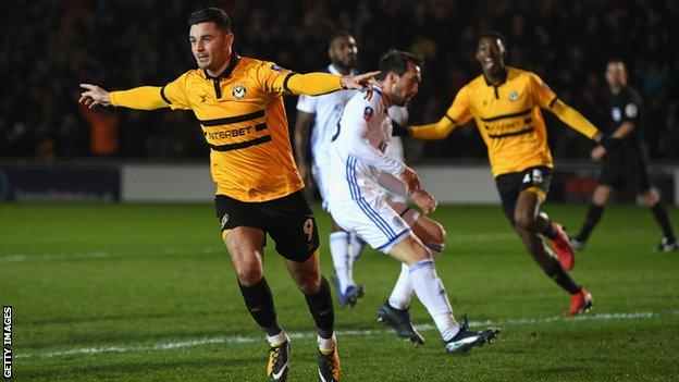 Padraig Amond celebrates his winning goal in Newport's win over Leicester in January 2019